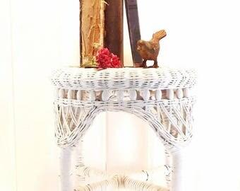 Vintage Wicker Stool, White Rattan Seat, Side Table