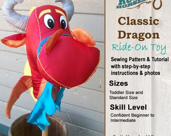 Dragon Ride on Toy Stick Horse Hobby Horse Sewing Pattern and Tutorial Plush Dragon Toy
