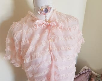 vintage bed jacket, blush pink lingerie,  pink lace jacket, frou frou, victorian look, pink lace shrug