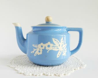 Blue Tea Pot, Harker Pottery Cameo Ware, Dainty Flower Blue pattern, with lid