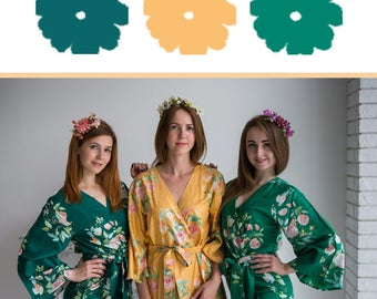 Mustard, Emerald Green and Forest Green Wedding Color Bridesmaids Robes - Premium Soft Rayon - Wider Belt and Lapels - Wider Kimono sleeves