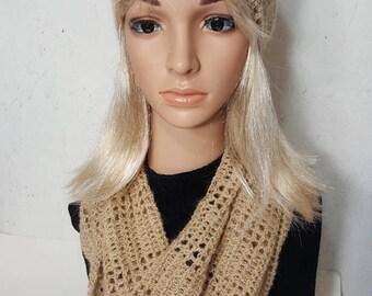 Alpaca Cowl with Headband Set, Alpaca Gift Set. Natural Fawn Alpaca Scarf.  Scarf with Headband Set