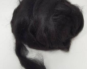 Suri Alpaca Roving. Natural Black, Silky Soft Roving, Black Alpaca Roving