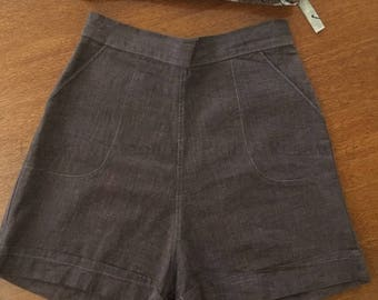 1950s High Waist Pin Up Shorts with Pockets-XS