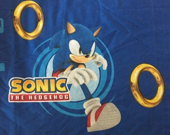 Rare Sonic The Hedghog TWIN FLAT Sheet- Reclaimed Bed Linens