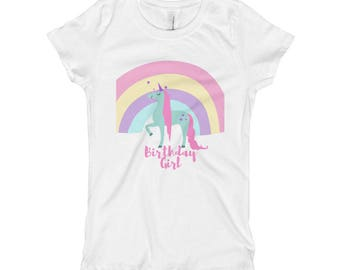 Unicorn Birthday Girl - Girl's T-Shirt