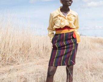 Vintage Valentino Striped Pencil Skirt