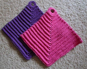 Potholder - Crochet Potholder - Made of Cotton in Pink and Purple