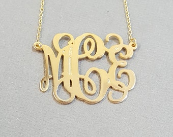 10k or 14k Solid Gold Vine Monogram Necklace, Custom Initials Monogram Necklace, Wedding Bridesmaid Gift