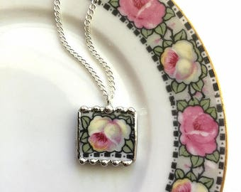 Champagne rose porcelain necklace pendant, made from a broken plate, recycled china, broken china jewelry, upcycled china