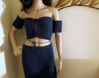 Hand Crochet Long Skirt and  Off the Shoulder Top, Crochet Two-Tone Skirt and Top Set in Blue