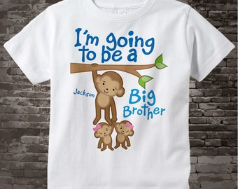 I'm going to be A Big Brother Shirt or Onesie, Monkey Shirt, Big Brother Monkey twin girl babies, Personalized Big Brother 06042014e