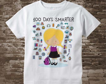 100 days of school shirt for girls, 100th day of school shirt, Girl's 100th day shirt, 100 days smarter cotton t-shirt 01032018b