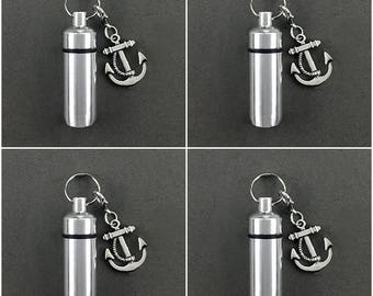 4 Pack Anchor - Sailor - Ashes Urn - Cremation Necklace - Ashes Holder - Vial Key Chain - Boat