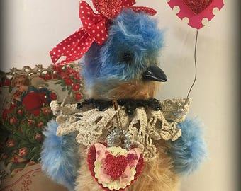 Victorian mohair Bluebird, antique farmhouse cottage style, teddy bear friend ~ Brady Bears Studio