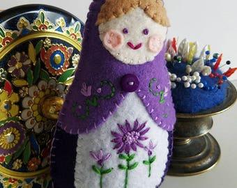Handmade Felt Matryoshka Doll - Embroidered Violet Purple Plum Lavender - Tan Hair - Violet Eyes - Heirloom Style - Russian Baby Doll - OOAK