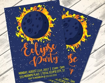 Solar Eclipse Party Invitation - Eclipse Party, Solar Eclipse Theme | Editable Text - Instant Download PDF Printable