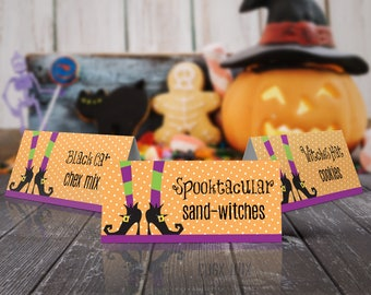 Witch Party Food Labels - Halloween Party, Table Tents, Place Cards   Editable Instant Download DIY Printable PDFs