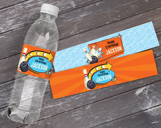 Bowling Party Water Labels or Wrappers - Bowling Bash, Bowling Birthday, Retro Bowling, Orange/Blue - INSTANT Download Printable PDFs