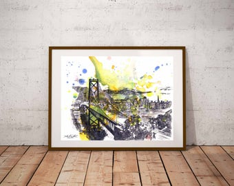 San Francisco Skyline Art Print From Original Watercolor Painting 13x19 San Francisco Art Print Painting Large Wall Art Decor Painting