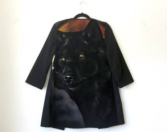 Wolf Velvet Painting Jacket / Black Swing Coat Sz M