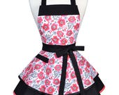 Womens Ruffled Retro Apron - Asian Inspired Coral and Black Floral Cute Flirty Pinup Apron to Monogram or Personalize (DP)