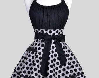 Flirty Chic Apron - Large Gray and Black Polka Dot Pinup Womans Sexy Retro Ruffled Hostess Apron with Pocket