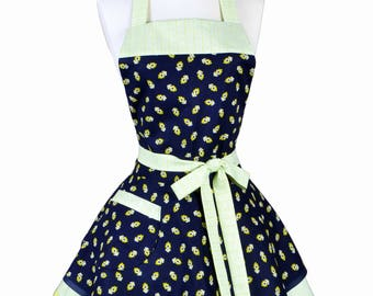 Womens Ruffled Retro Apron - Lime Green Navy Blue Bandanna Womans Cute Vintage Style Pinup Kitchen Apron to Personalize or Monogram (DP)