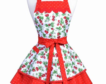 Womens Ruffled Retro Apron - Red White Strawberry Fields Womans Vintage Style Pinup Kitchen Apron to Personalize or Monogram (DP)