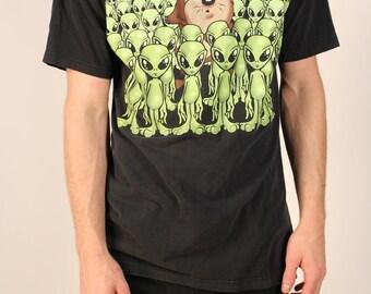Vintage 1997 Looney Tunes Taz Aliens Graphic T-Shirt Unisex Large Tasmanian Devil