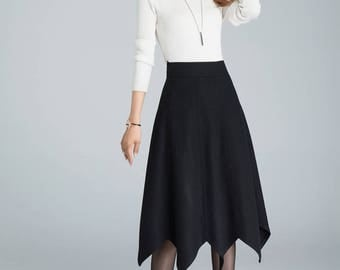 designer clothing, wool skirt, black skirt, high waisted skirt, plus size skirt, swing skirt with asymmetrical Hem , A line skirt  1632
