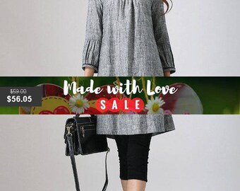 Linen Tunic dress, Grey dress, Mini Dress, Tunic top, womens tops, Fall clothing, shift dress, linen clothing, plus size, ladies tunics 783