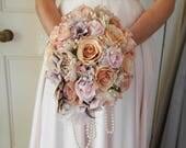 Blush wedding bouquet, artificial floral bouquet, rustic flowers, woodland bouquet, feather bouquet, silk flowers, statement bouquet