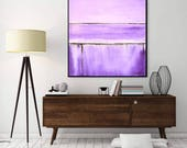 Lavender Painting Square Abstract Art Original Textured Purple Oil Painting High Gloss Artwork Wall Art Sky Whitman