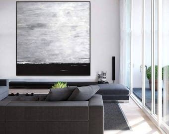 Minimalist Art Black and White Painting Large Wall Art Abstract Painting Minimal Landscape Huge Gray Oil Painting Artwork by Sky Whitman