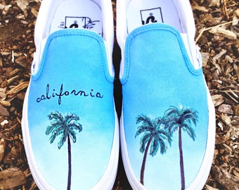 Custom Vans Shoes - Hand Painted California Palm Trees