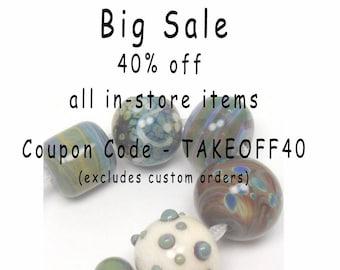 Artisan lampwork beads  -  Eclectics in Green  -  ivory, sage, khaki, olive, blue, raku frit, loose glass beads, organic lampwork bead