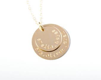 Gold Name Necklace, Stamped Gold Necklace, Five Name Necklace, Stamped Necklace, Stamped Gold Name Necklace, Name Necklace, Hand Stamped