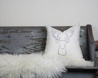 """18""""x18"""" Ivory Linen with Gray Ink """"Deer"""" Pillow Cover"""
