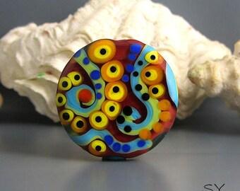 Flower Power Peacock Design - Lampwork Bead / Art Glass - Its an original  Michou P. Anderson Design - Brand: Sonic & Yoko