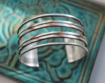 Sterling William Spratling Cuff Bracelet Taxco Mexico 1940s Braided Copper Silver