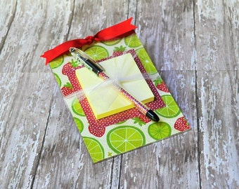Post it Note Holder, Acrylic Memo Note Holder, Lime and Strawberry Post It Note Holder, Teacher Gift, Women's Gift, Matching Pen, Stationery