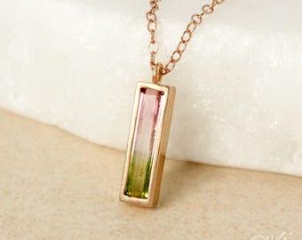 Rose Gold Watermelon Tourmaline Necklace - Slim Rectangle Pendant - Green, Pink Tourmaline