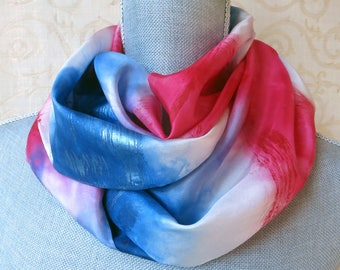 Red, White and Blue Stripes Handpainted Silk Scarf, Fourth of July