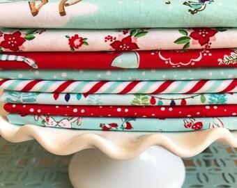Pixie Noel fabric bundle - 8 Fat Quarters - Red and Aqua