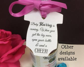 Baby shower wine etsy baby shower favors wine bottle favor tags baby mini wine bottle tags baby champagne labels cheers pronofoot35fo Gallery
