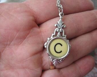 Typewriter Key Jewelry - Typewriter Necklace Letter C