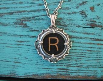 Typewriter Key Jewelry - Typewriter Charm - Letter R