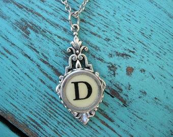 Typewriter Key Jewelry - Typewriter Necklace Letter D