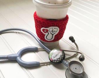 crochet coffee sleeve cup cozy, nurse life , nurses week, nurse thank you, registered nurse gift, doctor gift, student nurse, stethoscope